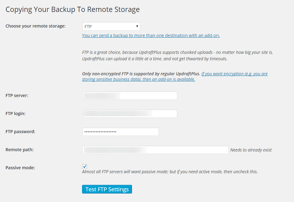 UpdraftPlus Backup Remote Backup Configuration