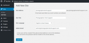 Wordpress Multisite Add Site