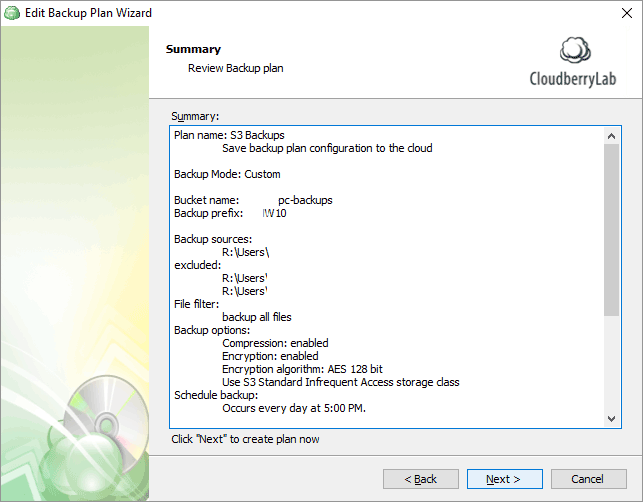 CloudBerry Backup Wizard summary screen