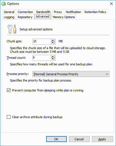 CloudBerry Backup has a wide range of advanced options