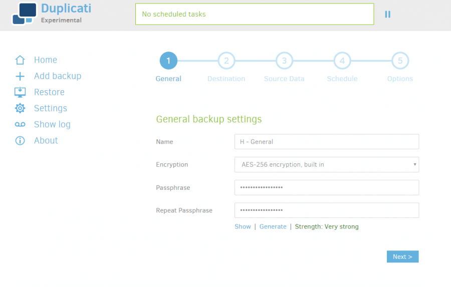 Duplicati Backup 2 Review - General Backup Settings