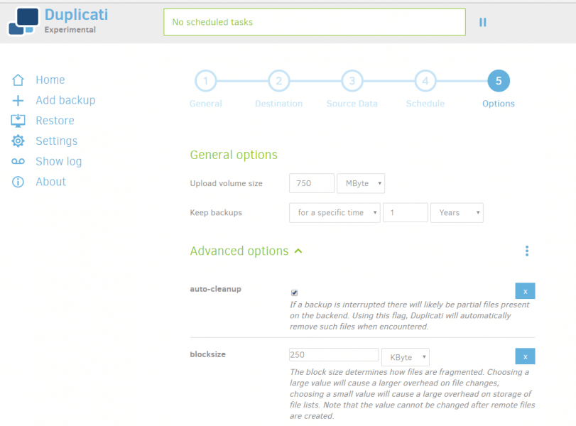 Duplicati Backup 2 Review - General Options