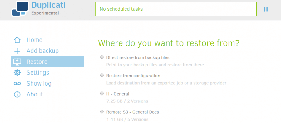 Duplicati Backup 2 Review - Restore Starting